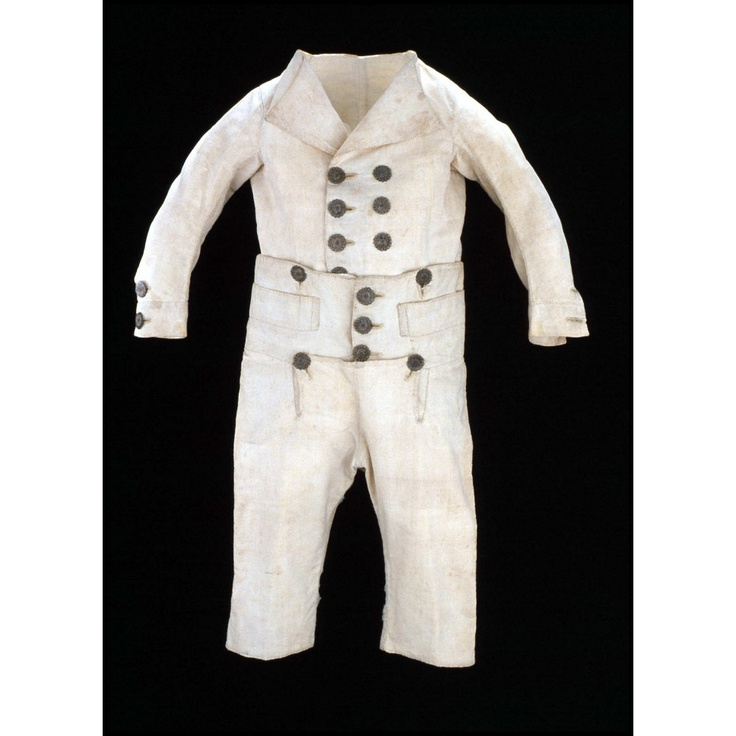 """1780-10 Boy's """"Skeleton suit,"""" coat and trousers, white. emuseum.history.org  (Colonial Williamsburg)"""