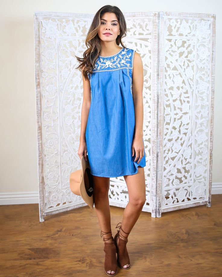 We are absolutely obsessed with this sweet as ever, adorable cotton chambray dress. The Soha Dress is designer inspired, vintage inspired, and comfort first. A rich version of denim blue is beautifully embroidered with white threading. This tank style dress with a back button is a go to for pairing with wedges or sandals.