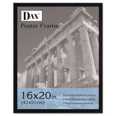 DAX Flat Face Wood Poster Frame, Clear Plastic Window, 16 x 20, Black Border, Multicolor