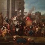 El cuadro representa el momento en que Alejandro Magno entra triunfante a Babilonia tras haber derrotado a Darío III de Persia, en la batalla de Issos.