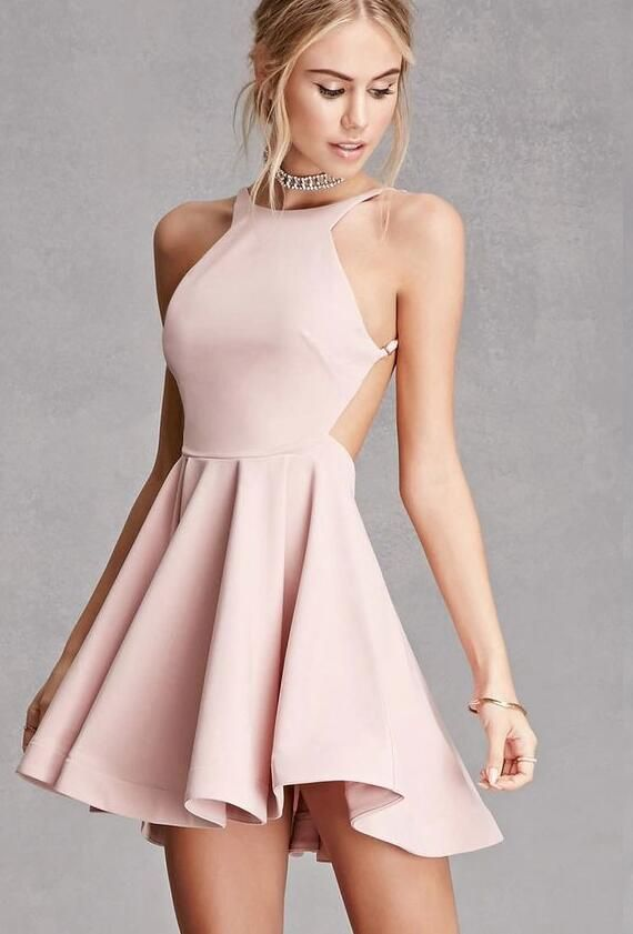 Simple Short Homecoming Dress,Stain Prom Gown for women,Backless Homecoming Dress