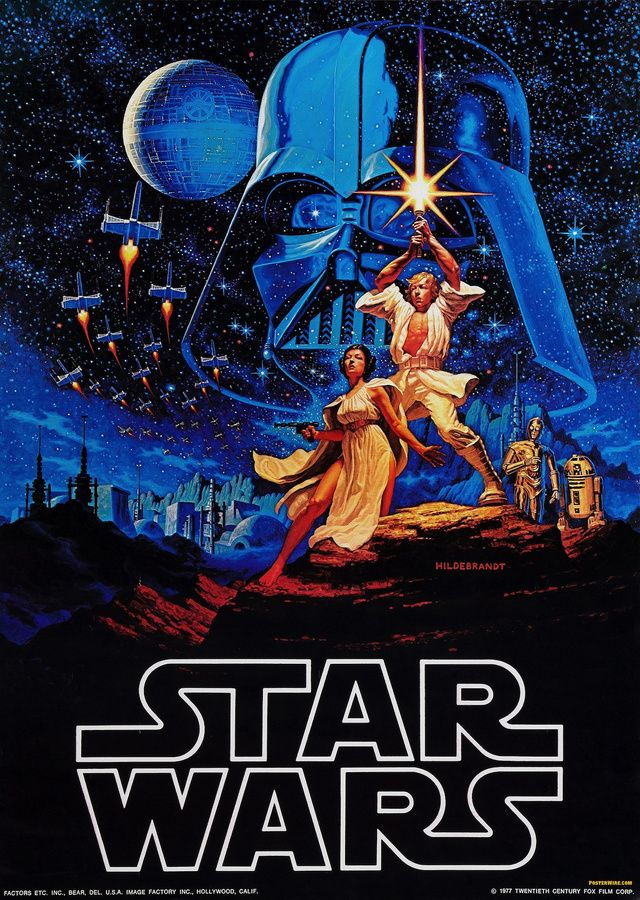 The very first Star Wars poster by Brothers Hildebrandt, 1976, before the film was introduced.