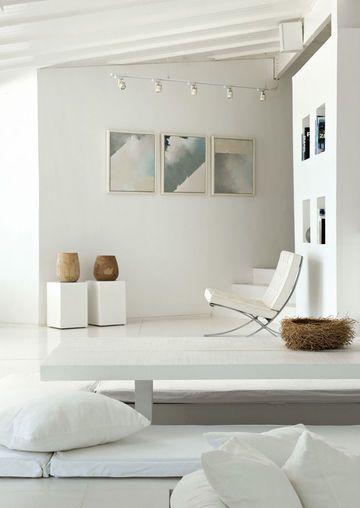 ♂ Minimalist modern white interior design home Blanc dominant pour une maison à vivre