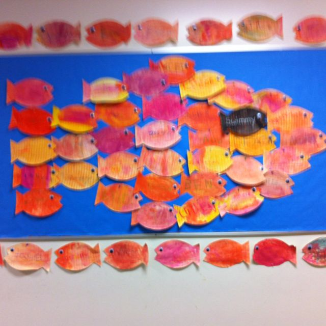 An art project to use with the book, Swimmy by Leo Lionni