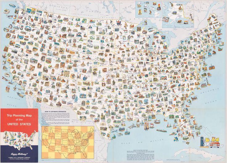 Иллюстрированная туристическая карта США 1962 года. Достопримечательности каждого штата. |