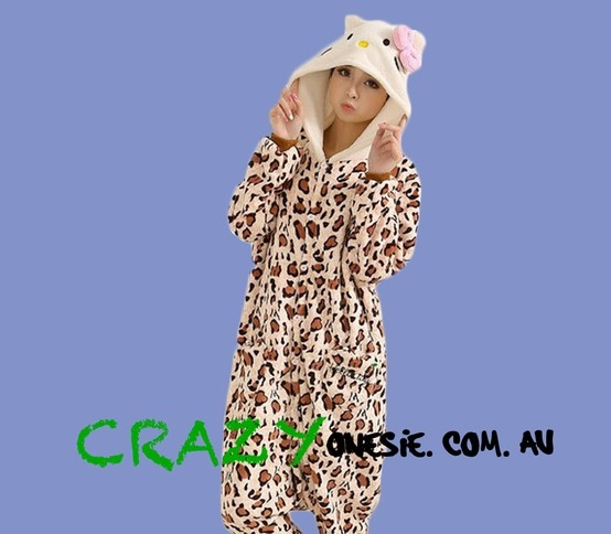 Hello Kitty Leopard print Onesie. 25% off EVERYTHING in store. Free Express Delivery Australia-wide. Visit www.crazyonesie.com.au for more details. Visit our Facebook page https://www.facebook.com/crazyonesie for exclusive competitions and discounts
