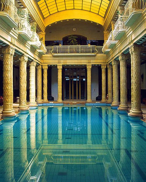 Gellért Thermal Baths and Swimming Pool, also called Gellért fürdő or Gellért Baths, is a bath complex in Budapest, Hungary, built between 1912 and 1918 in the (Secession) Art Nouveau style. I