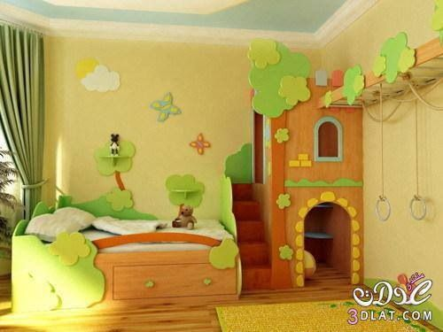Fun kids room bed tree house playground fort https - Deco chambre bebe jungle ...