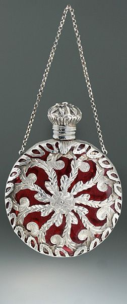 C. 1880 French cranberry glass scent bottle