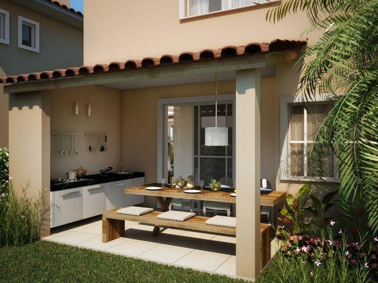 aussenküche gartenküche ünerdachte Terrasse Holzesstisch Sitzbank #garden #house