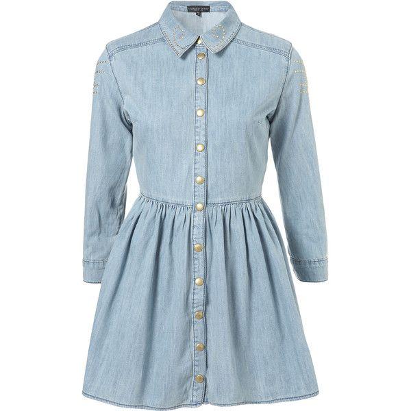 Petite Studded Denim Dress ($130) ❤ liked on Polyvore