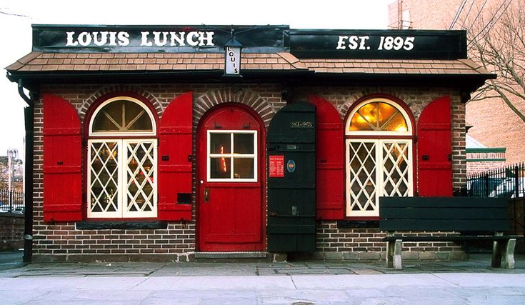 "Louis' Lunch, New Haven, Connecticut.  Birthplace of the ""hamburger sandwich."" #hamburger"