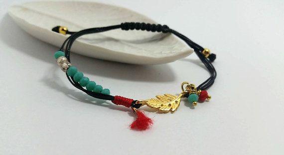 Gold leaf Bracelet tiny crystal braceletblue jade by betsyarts