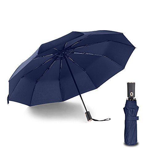 Bodyguard Newest 10 Ribs Travel Umbrella Golf Umbrella ,Best Compact Auto Open Close - 210T Finest Reinforced Windproof Umbrella,Foldable & Portable - Ultra Comfort Handle - Gift Box(Blue)