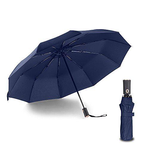 Bodyguard+Newest+10+Ribs+Travel+Umbrella+Golf+Umbrella+,Best+Compact+Auto+Open+Close+–+210T+Finest+Reinforced+Windproof+Umbrella,Foldable+&+Portable+–+Ultra+Comfort+Handle+–+Gift+Box(Blue)