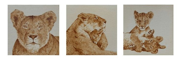 Coffee lions 10x10 painting - by Evan Brayshaw