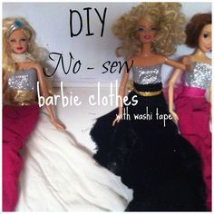 Make barbie clothes with washi tape and old tights or fabric! No sew and super easy for kids to do, too!