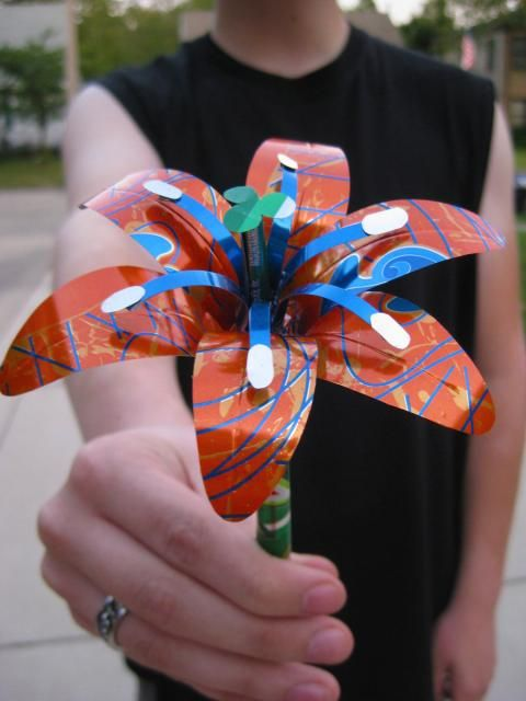 Faux Flowers made from aluminum cans