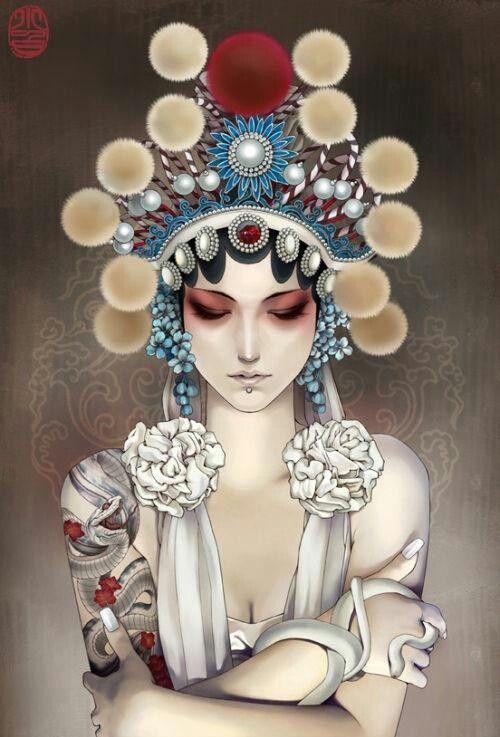 Glamorous Tattoo Illustrations by Zhang Xiaobai. Xiaobai is a talented illustrator based in Beijing, China.  Гламурные иллюстрации татуировки Чжан Xiaobai . Xiaobai талантливый иллюстратор , базирующаяся в Пекине, Китай.