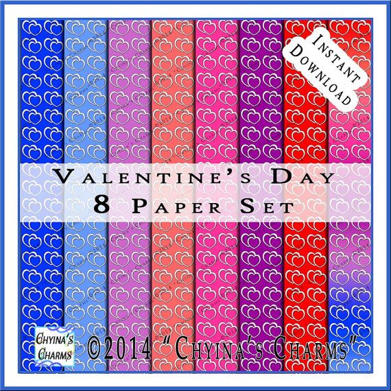 Double Heart Valentine Digital Scrapbook Papers Set of Eight Backgrounds Instant Download - PP0004