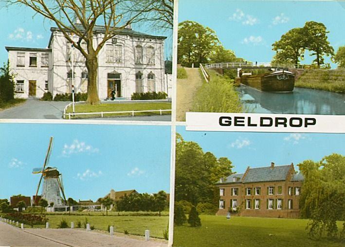 Collage van 4 foto's waarop; gemeentehuis (1), Eindhovensch Kanaal met binnenvaartschip bij de Hulsterbrug (2), windmolen aan de Molenakker (3) en kasteel in parklandschap (4) Jos Pé (fotograaf) 1960