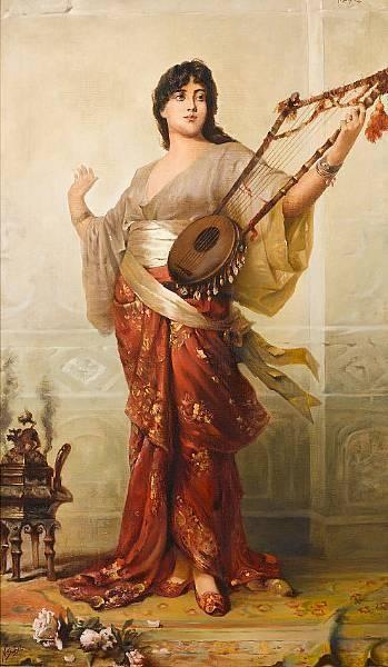 Oriental Girl with Harp  Nathaniel Sichel 1843-1907 German Artist