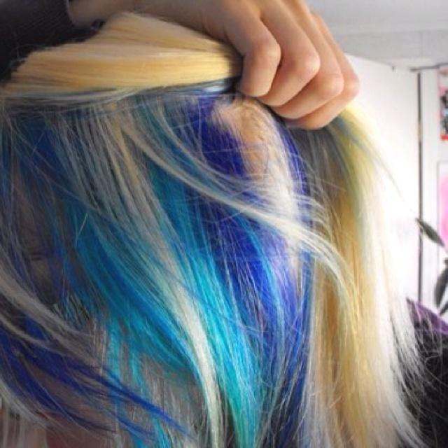 White with blue streaks