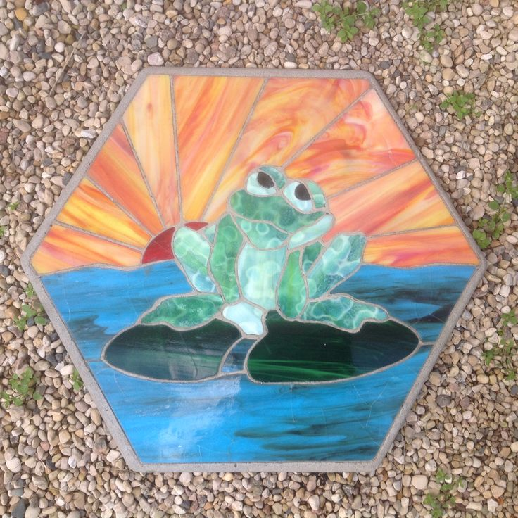 Frog On Lily Pad Stained Glass Patio Stone Stained Glass