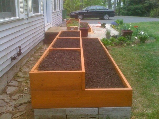 Two double tiered raised garden beds garden ideas for Tiered garden designs