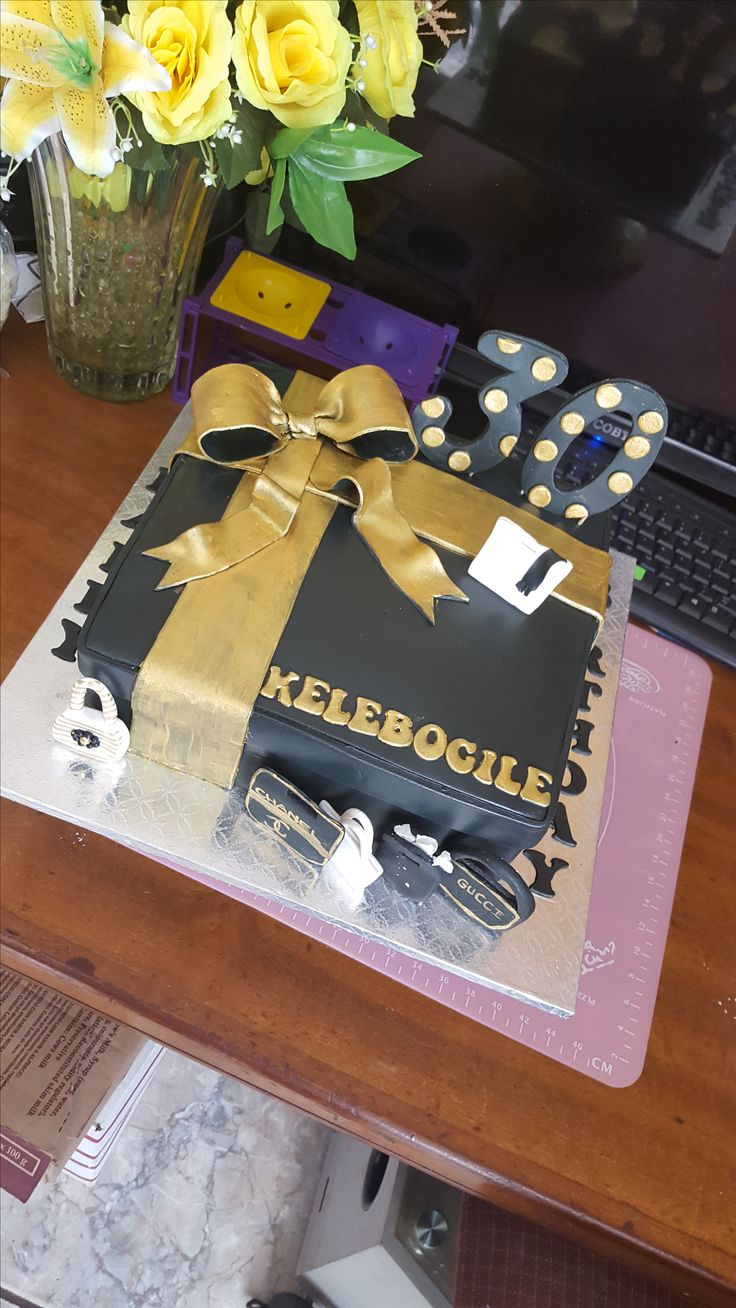 Black and Gold Gift Cake