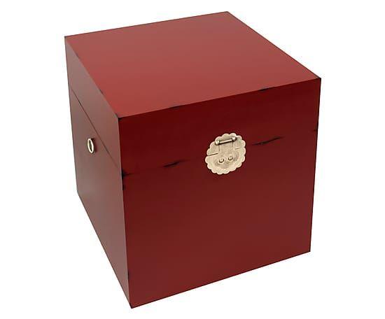 Boîte YUAN bois, rouge et doré - L50