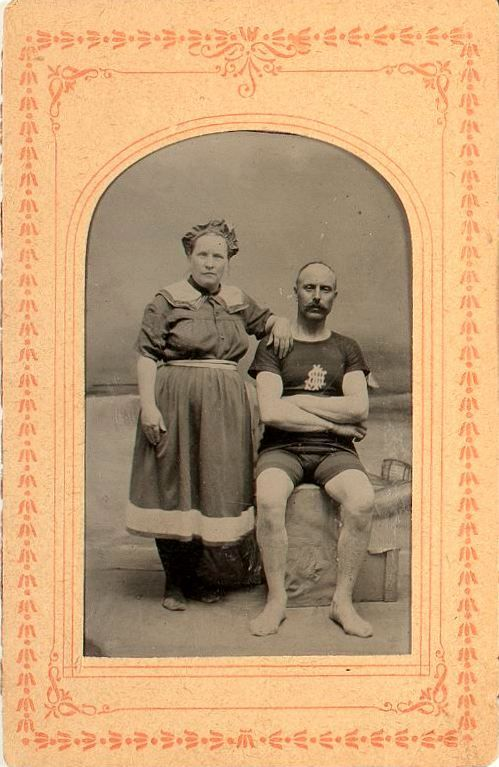 tuesday-johnson:  ca. 1870-1900's, [studio tintype portrait of a couple in swim wear] via Cowan's Auctions