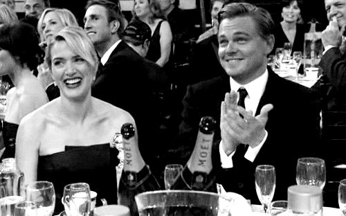 Here they are laughing together! They love laughing together. | Kate Winslet And Leonardo DiCaprio Should Be Together In Real Life
