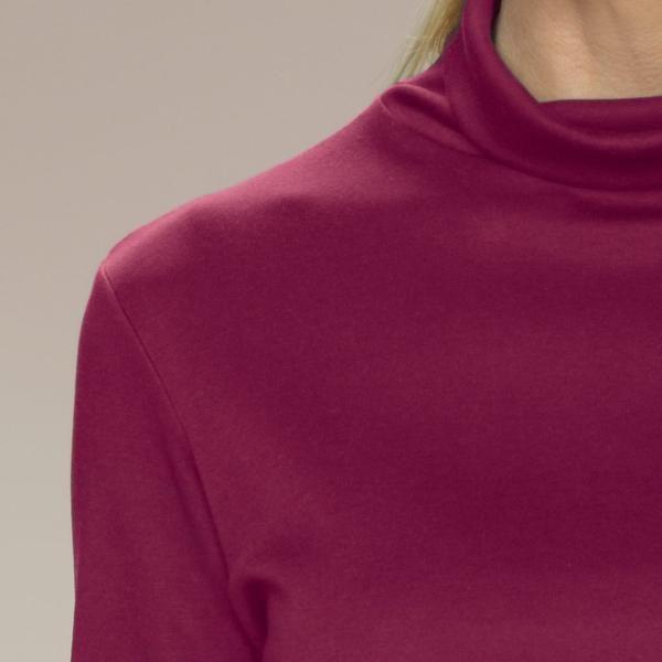 Ramona pima cotton roll neck top long sleeves velvet mauve wine burgundy claret detail