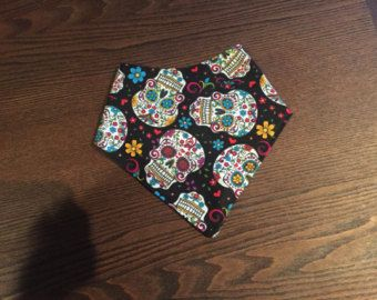 bandana bib for toddler or baby boy or girl skull sugarskull day of the dead - Edit Listing - Etsy
