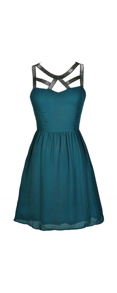 Cutout Neckline Embellished Dress in Teal   www.lilyboutique.com