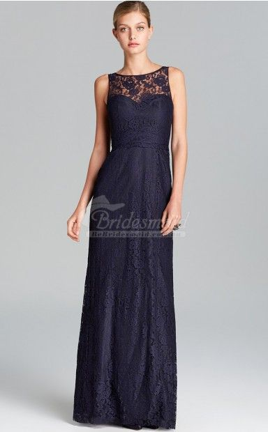 Elegant Navy Blue Lace Bateau Neck Long Bridesmiad Dresses bebridesmaid.com.au