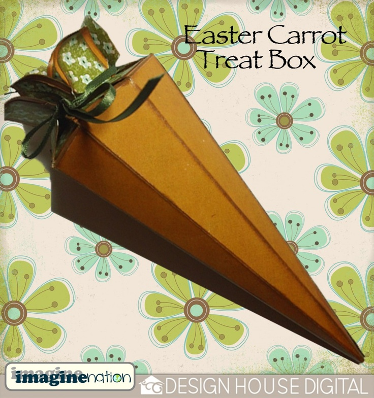"Digital scrapbooking freebie - Easter carrot treat box. Free downloadable template plus ""how to"" blog available at Design House Digital. Thanks to Jennifer Donegan"