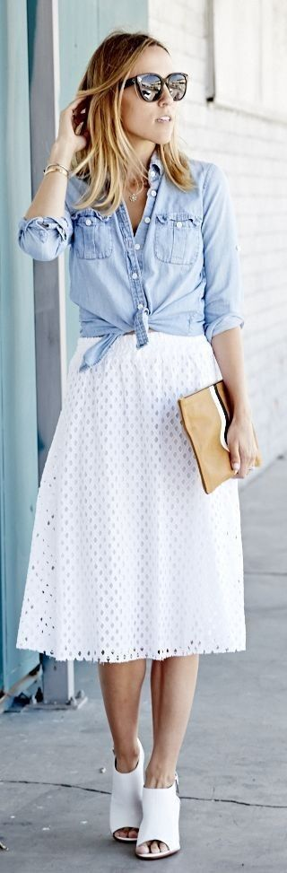 Chambray Shirt + White Eyelet Skirt #Skirt