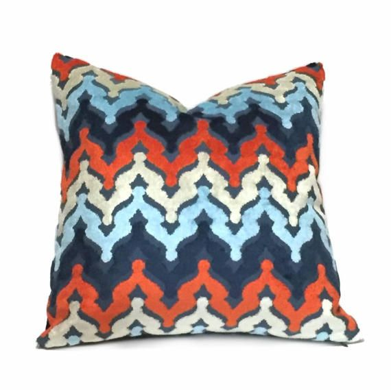 Designer Blue Orange Cream Cut Velvet Small Ogee Waves Pillow Cover Fits 12x18 12x24 14x20