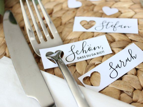 10 pcs table tickets for wedding | Name colts, place cards with punched heart as gift tags, personalised