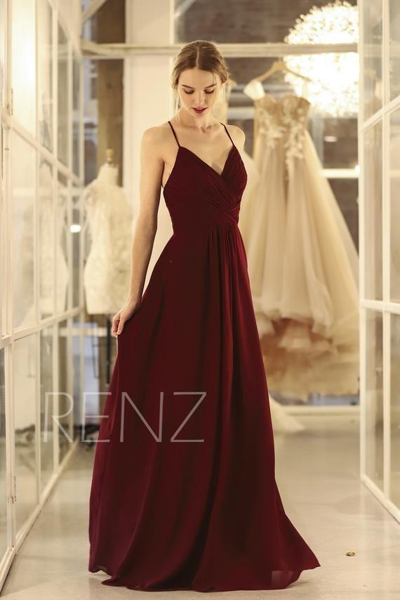 6cebb7f2ffb Bridesmaid Dress Wine Chiffon Dress Wedding Dress Spaghetti Strap ...