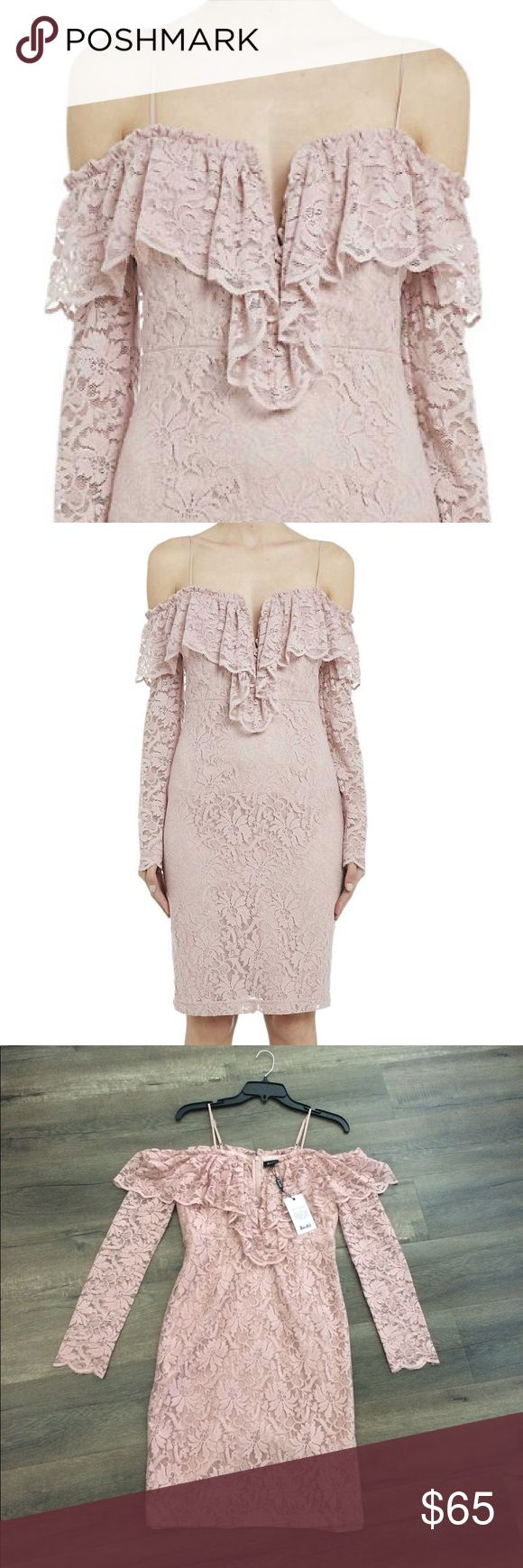 FLASH SALE Bardot Lace Cold Shoulder Ruffle Dress Price firm. Elegant, romantic lace midi dress with a slim bodycon silhouette with ruffled details. Modified sweetheart neckline with cold shoulders and adjustable straps. Romantic dusty pink blush color. Long sleeves. Slightly padded bust, no need to wear a bra. Measures approximately 21 inches shoulder to shoulder at cold shoulder with plenty of stretch and 32 inches in length from neckline to hem (excluded adjustable strap) Bardot Dresses