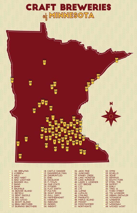 Minnesota Craft Breweries Map