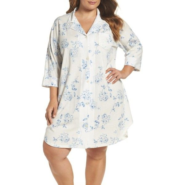 Plus Size Women's Lauren Ralph Lauren Sleep Shirt ($66) ❤ liked on Polyvore featuring plus size women's fashion, plus size clothing, plus size intimates, plus size sleepwear, ivy ground floral, plus size, plus size sleepshirt, plus size night shirts, plus size sleep wear and lauren ralph lauren sleepwear