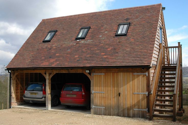 Timber garage, car port and loft space