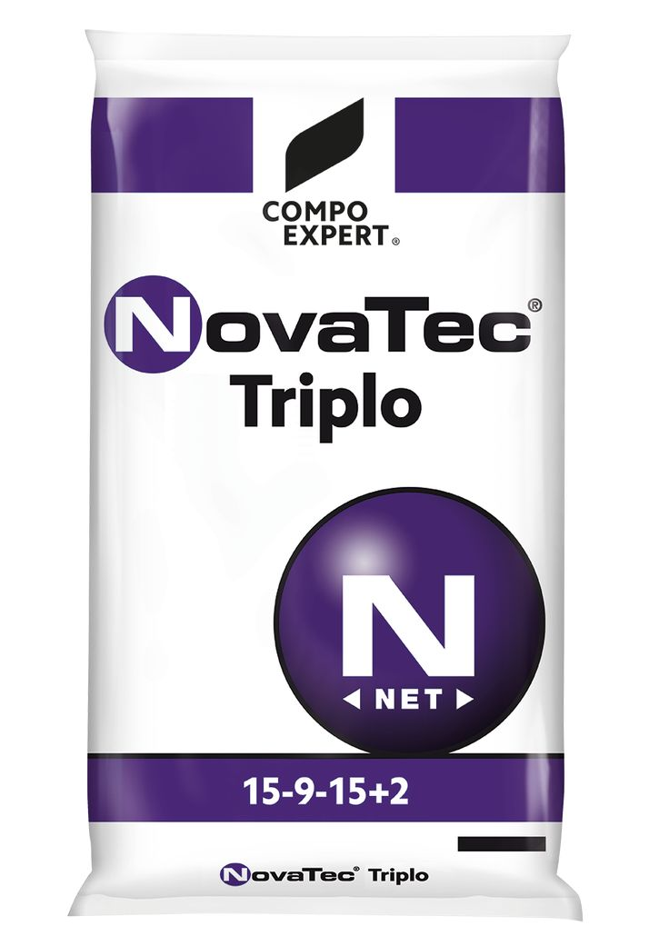 NovaTec Triplo Σύνθεση: 15-9-15 +2MgO+B+Fe+Zn  Ιδανικό για βασικές λιπάνσεις και για καλλιέργειες με αυξημένες απαιτήσεις κυρίως σε φώσφορο, κάλιο, άζωτο μαγνήσιο και ιχνοστοιχεία.  Συσκευασίες: σάκοι των 40 και 25 κιλών.