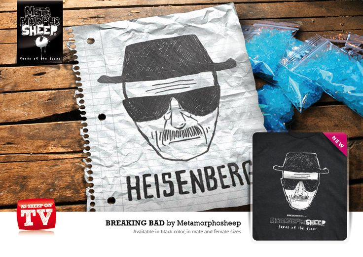 """#BREAKING BAD by Metamorphosheep. As Sheep On TV is the t-shirt collection dedicated to the fans of the best cult TV series. Follow the """"flock"""" on the screen!"""