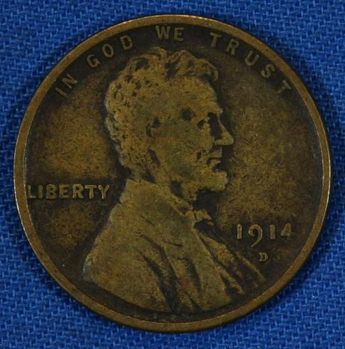 1914 D Lincoln Wheat Small One Cent 1c Penny Coin - Denver - Key Date