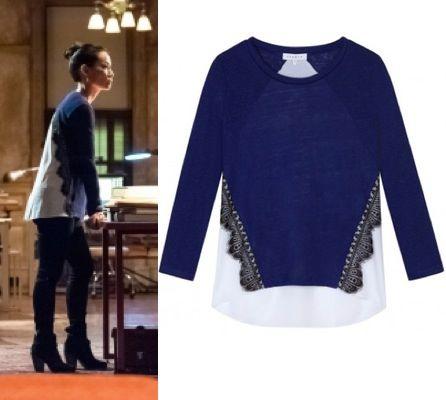 Elementary season 2, episode 12: Joan Watson's (Lucy Liu) Sandro blue and white Tetu Silk Back Shirt with scallop lace trim